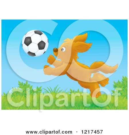 Clipart of a Happy Dog Chasing a Soccer Ball in a Field - Royalty Free Illustration by Alex Bannykh