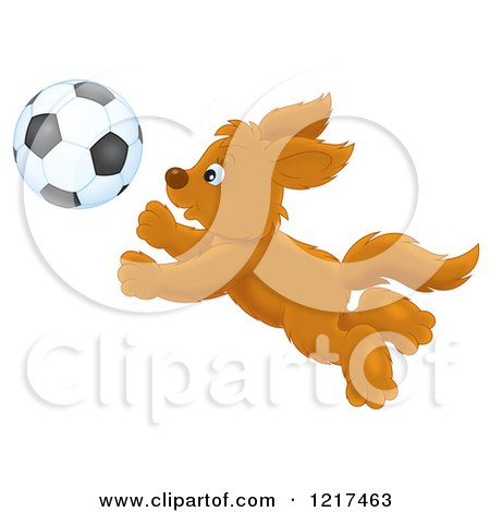 Clipart of a Happy Dog Chasing a Soccer Ball - Royalty Free Illustration by Alex Bannykh