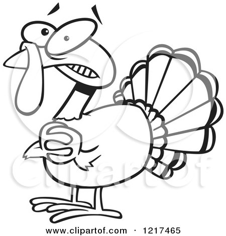 Clipart of an Outlined Scared Cartoon Turkey Bird Clasping His Hands - Royalty Free Vector Illustration by toonaday