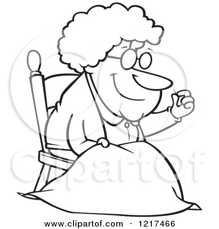 Outlined Cartoon Granny Making a Quilt Posters, Art Prints