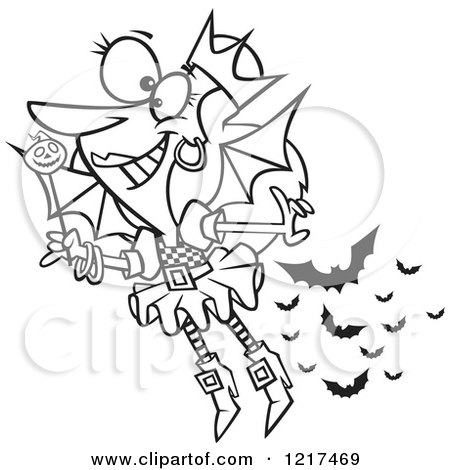Clipart of an Outlined Cartoon Halloween Fairy with Bats - Royalty Free Vector Illustration by toonaday