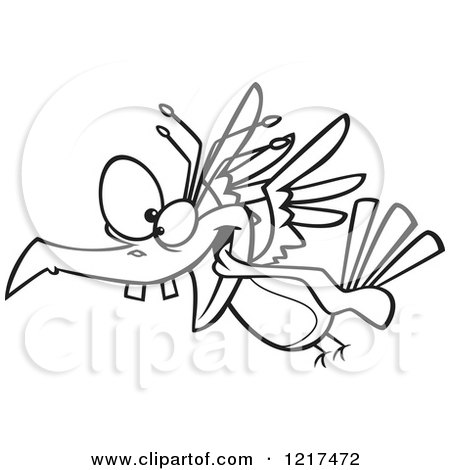 Clipart of an Outlined Cartoon Crazy Bird Flying - Royalty Free Vector Illustration by toonaday