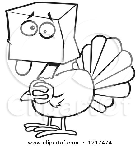 Clipart of an Outlined Scared Cartoon Turkey Bird Hiding Under a Bag - Royalty Free Vector Illustration by toonaday