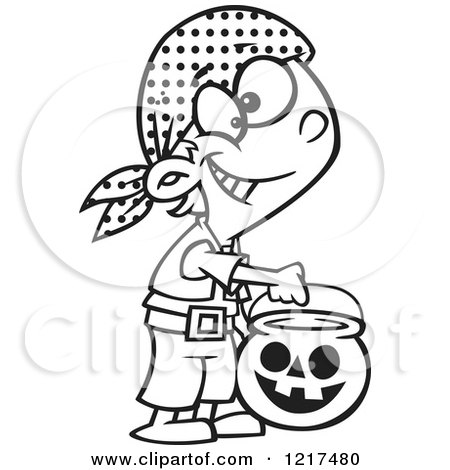 Clipart of an Outlined Cartoon Halloween Boy Trick or Treating As a Pirate - Royalty Free Vector Illustration by toonaday