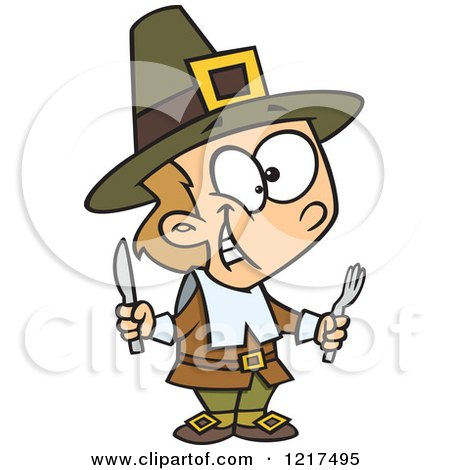 Clipart of a Cartoon Hungry Thanksgiving Pilgrim Boy Holding Silverware - Royalty Free Vector Illustration by toonaday