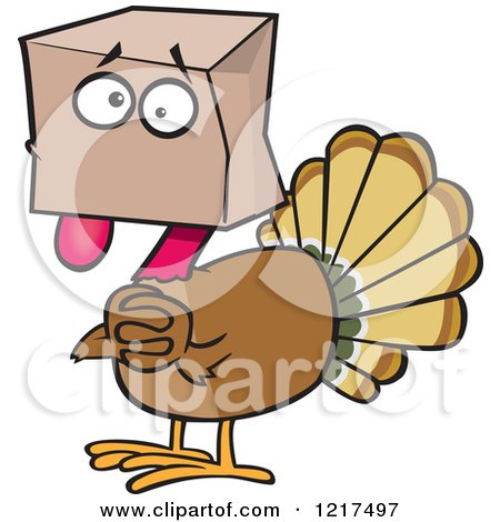 Clipart of a Scared Cartoon Turkey Bird Hiding Under a Bag - Royalty Free Vector Illustration by toonaday