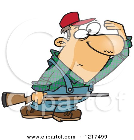 Clipart of a Cartoon Farmer or Hunter Shielding His Eyes and Holding a Rifle - Royalty Free Vector Illustration by toonaday