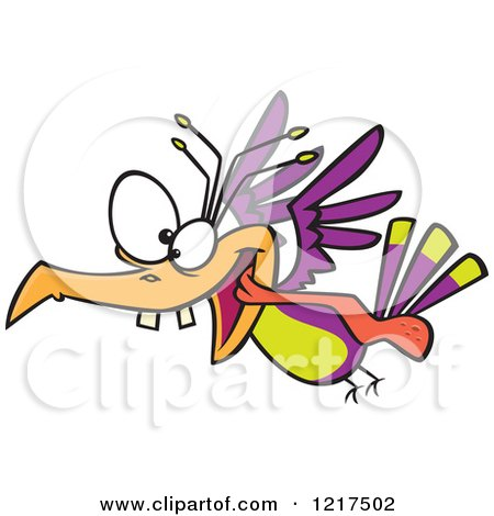 Clipart of a Cartoon Crazy Bird Flying - Royalty Free Vector Illustration by toonaday