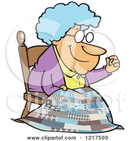 Clipart of a Cartoon Granny Making a Quilt - Royalty Free Vector Illustration by toonaday