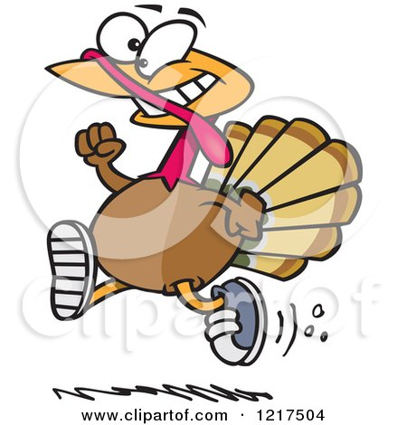 Clipart of a Cartoon Turkey Bird Running with Sneakers on - Royalty Free Vector Illustration by toonaday