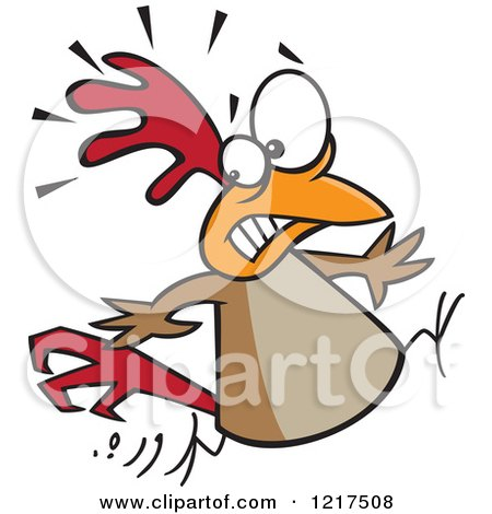 Clipart of a Scared Cartoon Chicken Running - Royalty Free Vector Illustration by toonaday