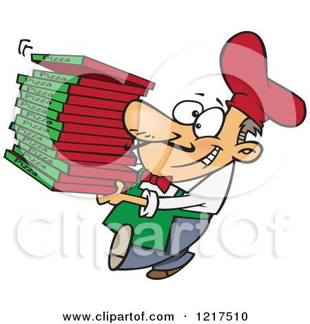 Clipart Of A Cartoon Pizza Chef Carrying Delivery Boxes Royalty Free Vector Illustration
