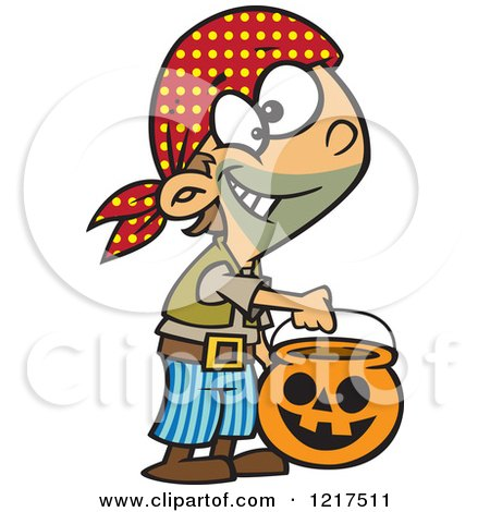 Clipart of a Cartoon Halloween Boy Trick or Treating As a Pirate - Royalty Free Vector Illustration by toonaday