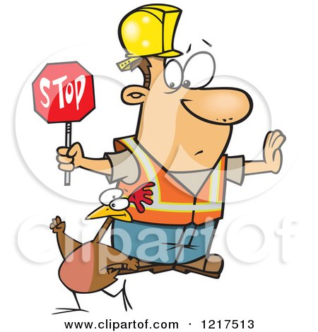 Clipart of a Cartoon Road Construction Worker Watching a Chicken Cross the Road - Royalty Free Vector Illustration by toonaday