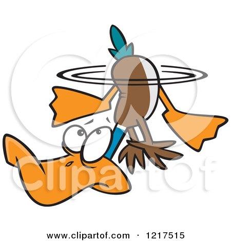 Clipart of a Cartoon Fraidy Mallard Duck Underwater - Royalty Free Vector Illustration by toonaday