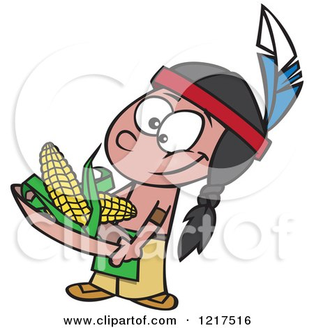 Clipart of a Cartoon Native American Boy Holding Corn - Royalty Free Vector Illustration by toonaday