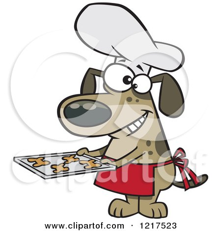 Clipart of a Cartoon Chef Dog Holding Fresh Baked Biscuits on a Tray - Royalty Free Vector Illustration by toonaday