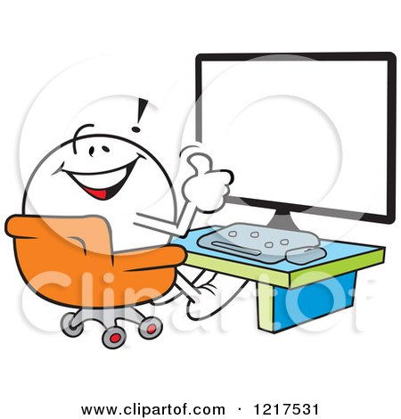 Clipart of a Moodie Character Holding a Thumb up in Front of a Computer - Royalty Free Vector Illustration by Johnny Sajem