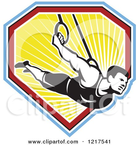 Clipart of a Retro Athletic Man on the Still Rings over a Shield of Ray - Royalty Free Vector Illustration by patrimonio