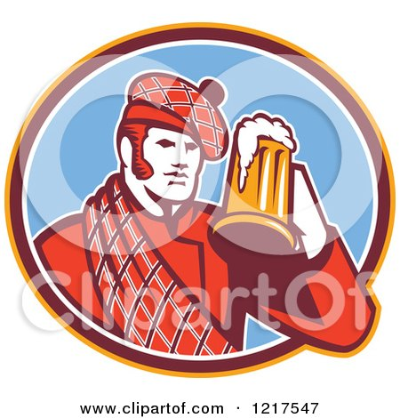 Clipart of a Retro Scotsman in a Tartan, Drinking a Beer in a Blue Oval - Royalty Free Vector Illustration by patrimonio