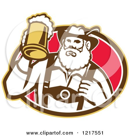 Clipart of a Retro German Man Holding up a Mug of Beer in an Oval - Royalty Free Vector Illustration by patrimonio
