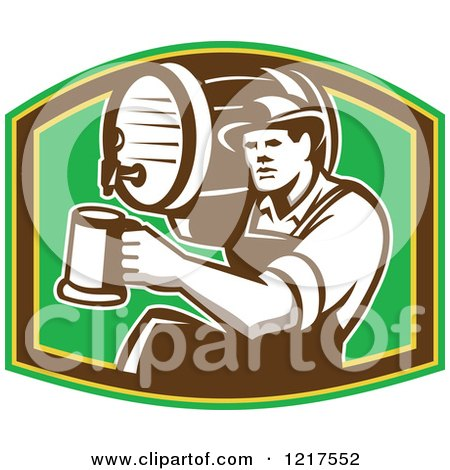 Clipart of a Retro Bartender Holding a Keg on His Shoulder and Pouring a Beer over Green - Royalty Free Vector Illustration by patrimonio