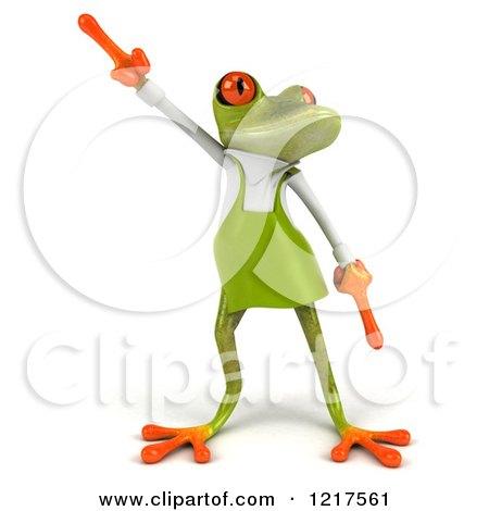 Clipart of a 3d Green Springer Frog Gardener Dancing - Royalty Free Vector Illustration by Julos