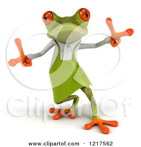 Clipart of a 3d Green Springer Frog Gardener Dancing 2 - Royalty Free Vector Illustration by Julos