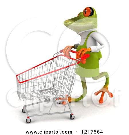 Clipart of a 3d Green Springer Frog Gardener Pushing a Shopping Cart 3 - Royalty Free Vector Illustration by Julos