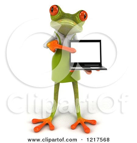 Clipart of a 3d Green Springer Frog Gardener Pointing to a Laptop - Royalty Free Vector Illustration by Julos