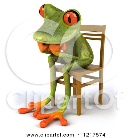 Clipart of a 3d Green Springer Frog Sitting in a Chair and Thinking 3 - Royalty Free Vector Illustration by Julos