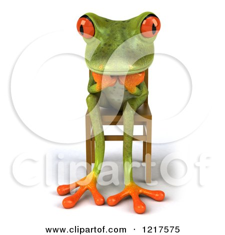 Clipart of a 3d Green Springer Frog Sitting in a Chair and Thinking - Royalty Free Vector Illustration by Julos