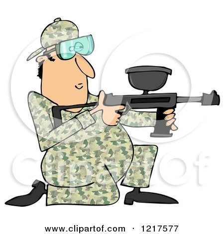 Clipart of a Kneeling Paintball Man in Camouflage - Royalty Free Illustration by djart