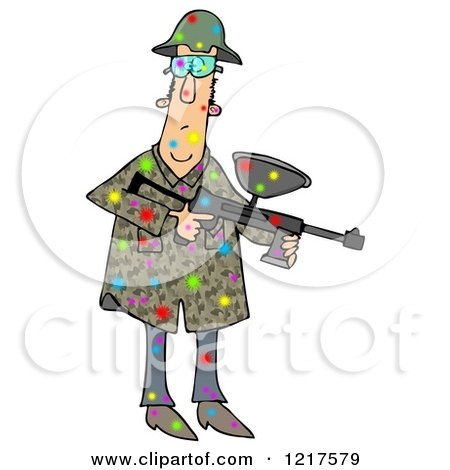 Clipart of a Paintball Man Covered in Colorful Splats - Royalty Free Illustration by djart