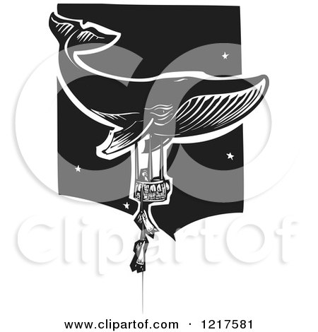 Clipart of a Woodcut Whale and Children Holding onto a Balloon Basket in Black and White - Royalty Free Vector Illustration by xunantunich