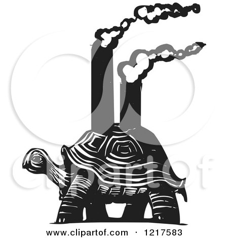 Clipart of a Woodcut Tortoise Carrying Smokestacks in Black and White - Royalty Free Vector Illustration by xunantunich