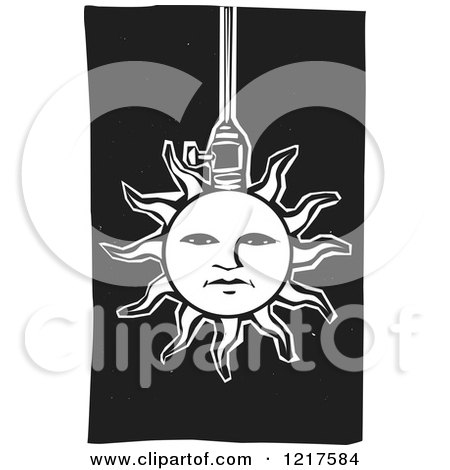 Clipart of a Solar Sun Lamp on Black - Royalty Free Vector Illustration by xunantunich