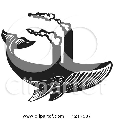 Clipart of a Woodcut Whale Swimming with Smokestacks in Black and White - Royalty Free Vector Illustration by xunantunich
