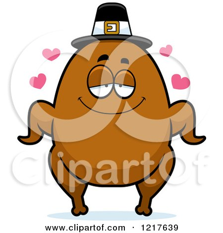 Clipart of a Loving Pilgrim Turkey Character - Royalty Free Vector Illustration by Cory Thoman