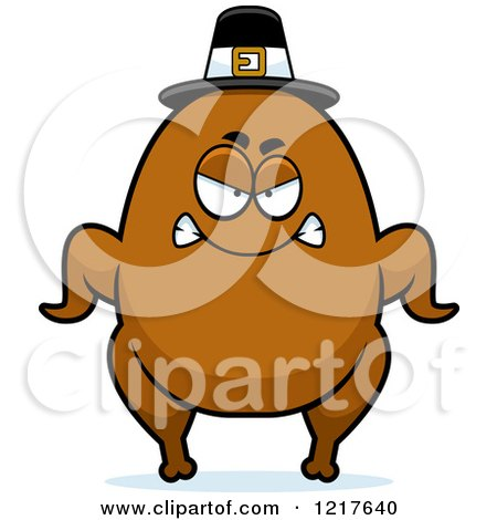 Clipart of a Mad Pilgrim Turkey Character - Royalty Free Vector Illustration by Cory Thoman
