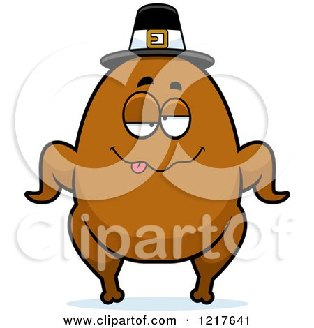Clipart of a Drunk Pilgrim Turkey Character - Royalty Free Vector Illustration by Cory Thoman