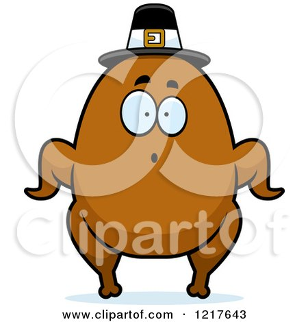 Clipart of a Surprised Pilgrim Turkey Character - Royalty Free Vector Illustration by Cory Thoman