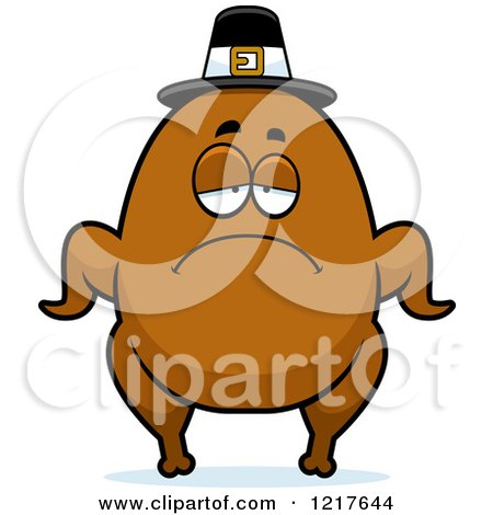 Clipart of a Depressed Pilgrim Turkey Character - Royalty Free Vector Illustration by Cory Thoman