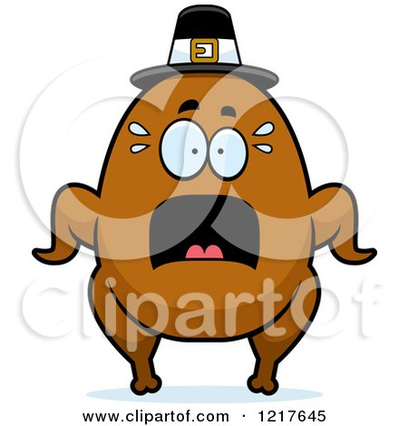 Clipart of a Scared Pilgrim Turkey Character - Royalty Free Vector Illustration by Cory Thoman