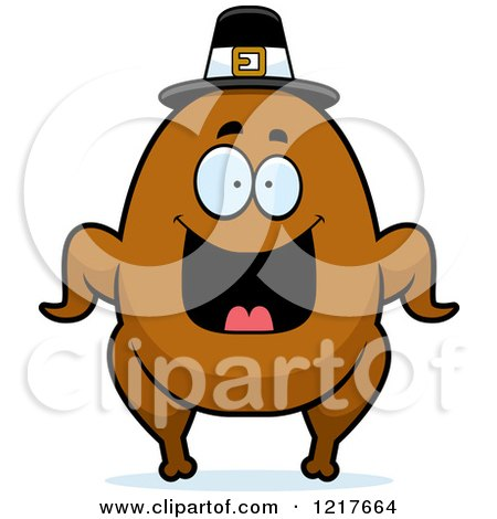 Clipart of a Happy Grinning Pilgrim Turkey Character - Royalty Free Vector Illustration by Cory Thoman