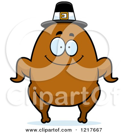 Clipart of a Happy Pilgrim Turkey Character - Royalty Free Vector Illustration by Cory Thoman