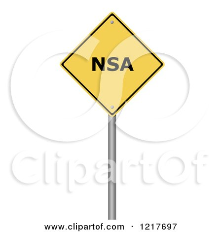 Clipart of a Yellow NSA Warning Sign - Royalty Free Illustration by oboy