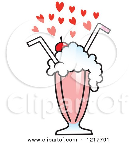 Clipart of Hearts over a Strawberry Milkshake with Two Straws - Royalty Free Vector Illustration by Johnny Sajem
