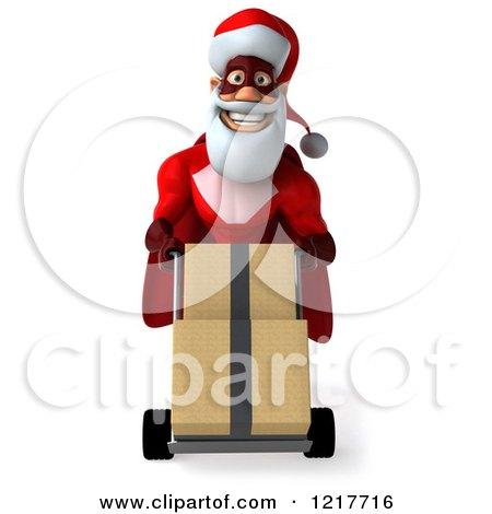 3d Super Hero Santa Moving Boxes on a Dolly Posters, Art Prints