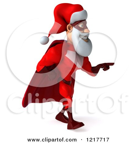 3d Super Hero Santa Walking and Pointing Posters, Art Prints